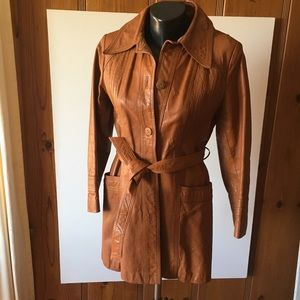 70's Vintage Wilson's Leather Trench Coat Brown 10